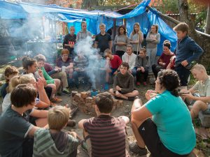 Students discussion group outdoor