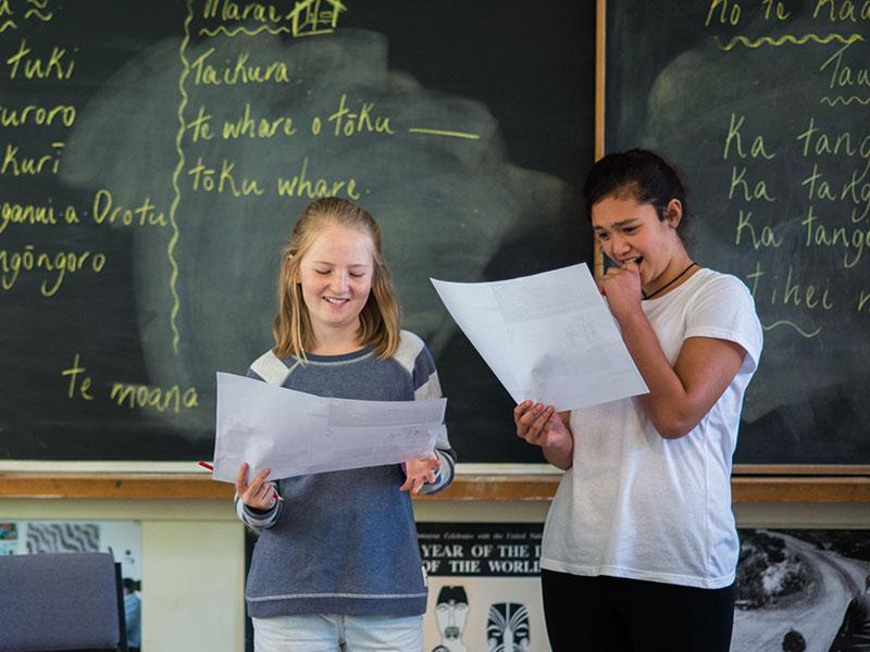 Girls in Maori class