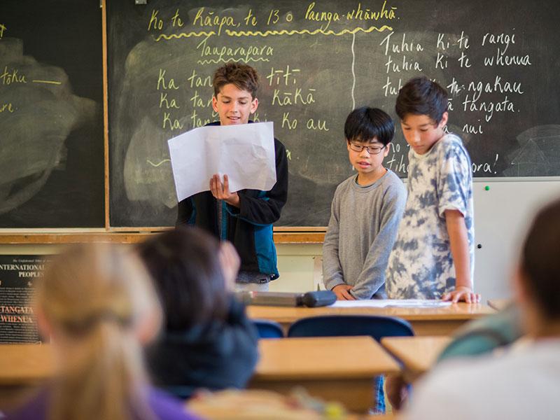 Boys in Maori class