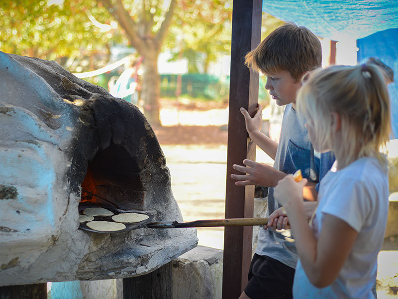 Students making lunch outdoor